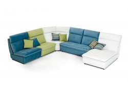 David Ferrari Spritz Sectional Sofa in Leather and Fabric