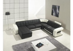 Modern Black and White Leather U Shape Sectional Sofa T139