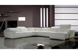 Tempo Contemporary White Italian Leather Large U Shape Sectional Sofa