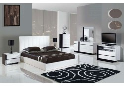 Trinity Modern Bedroom Set in White and Wenge Finish