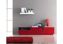 T027 Red High Gloss Long Contemporary TV Stand