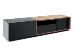 TV047 Large Modern TV Stand in Black and Walnut Finish