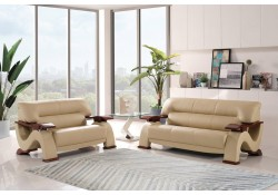 U2033 Living Room Set in Cappuccino Leather by Global