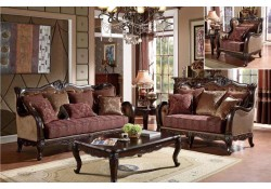 U2321 Traditional Living Room Set in Two Tone Fabric