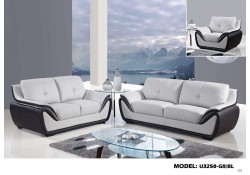 U3250 Two Tone Living Room Set Light Grey and Black Leather