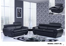 U4571 Global Furniture Living Room Set in Black Leather