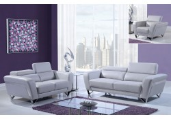 Light Grey Modern Leather Living Room Set U7120