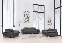 Divanitalia 636 Living Room Set in Gray Leather