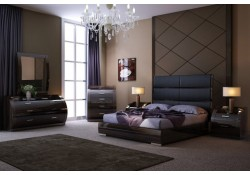 Milan Modern Bedroom Set in Dark Brown Lacquer Finish