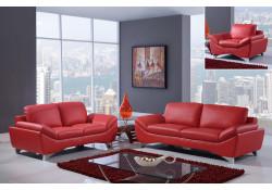 Modern Red Leather Living Room Set UR7140 Global Furniture