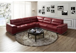 Valentino Red Leather Sectional Sofa by J&M Furniture