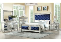 Varian Bedroom Set in Blue Velvet