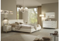ESF Venice Italian White Bedroom Set with Gold Design