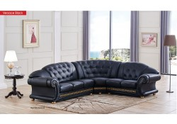 Versace Classic Style Sectional Sofa in Black Leather