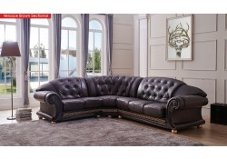 Versace Classic Sectional Sofa in Brown Italian Leather