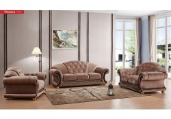 Versace Classic Living Room Set in Light Brown Fabric
