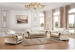 Versace Living Room Set in Pearl Italian Leather