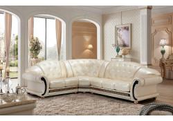 Apolo Sectional Sofa in Pearl Italian Leather