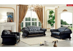 Versace Living Room Set in Black Italian Leather
