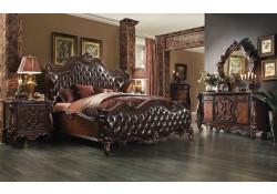 Versailles Bedroom Set in Cherry Oak and Brown Upholstery