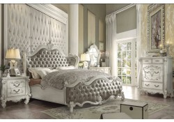Versailles Bedroom Set in Bone White and Gray Upholstery