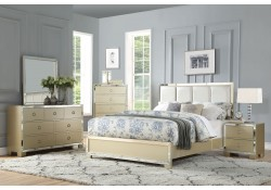 Voeville II Bedroom Set in Champagne and Leather