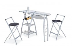 Cafe G Modern Bar Set - Features Folding Stools
