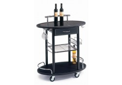 Black Leather Modern Mini Bar Cart