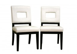 Bianca Cut-Out Back White Leather Chairs - Set of 2