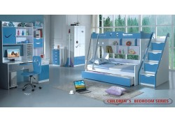 Modern Kids Furniture Bedroom Set Twin Full Bunk Bed 100B2