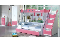 Modern Kids Furniture Girls Bedroom Set Twin/Full Bunk Bed 102B2