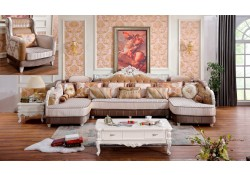 Zarah 698 Sectional Sofa in Pearl White Finish Fabric