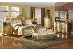 Zelda Bedroom Set in Gold Finish French Provincial
