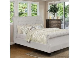 Emanuela Sleight Bed in Light Gray Fabric