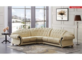 Versace Classic Sectional Sofa in Ivory Italian Leather
