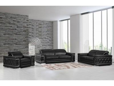 Divanitalia 692 Living Room Set in Black Leather