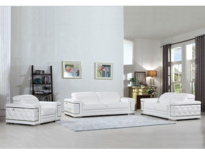 Divanitalia 692 Living Room Set in White Leather