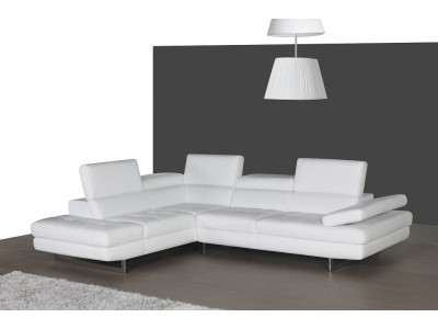 A761 Sectional Sofa in White Leather