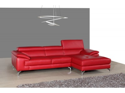 A973B Red Leather Sectional Sofa in Compact Size