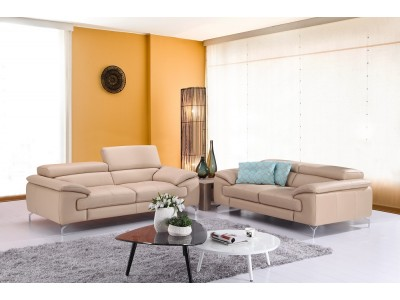 A973 Modern Living Room Set in Beige Italian Leather