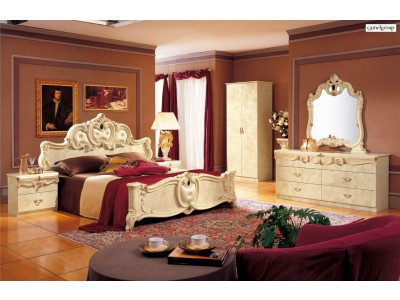 Barocco Bedroom Set in Ivory Classic Finish Lacquer