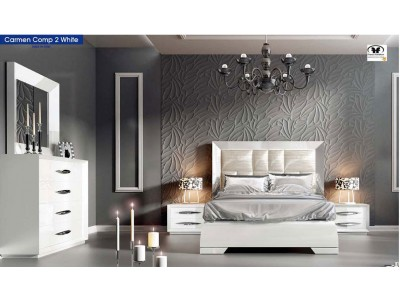 Carmen Bedroom Set in White Lacquer by Franco Furniture