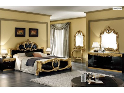 Barocco Italian Bedroom Set in Black and Gold Lacquer