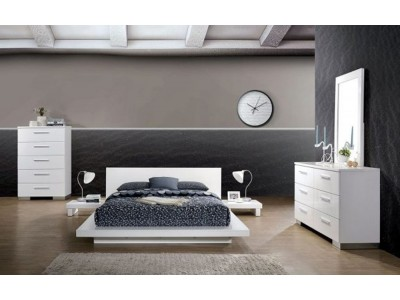 Christie Low Profile Bedroom Set in White