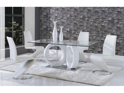 White Z Chairs Glass Top Dining Room Set D9002DT
