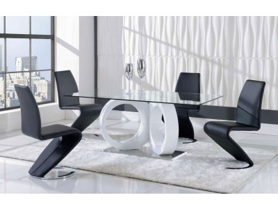 Black Z Chairs Glass Top Dining Room Set D9002DT