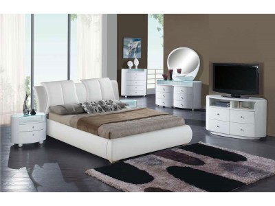 Emily White Modern Bedroom Set and White Leather Bed