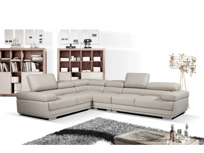 2119 Modular Sectional Sofa in Grey Leather