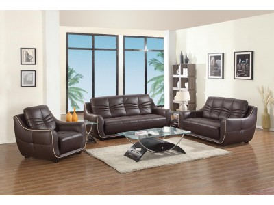 2088 Modern Living Room Set in Brown Leather