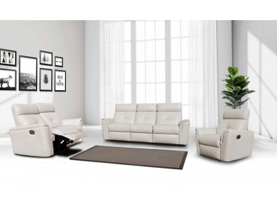8501 White Leather Reclining Living Room Set